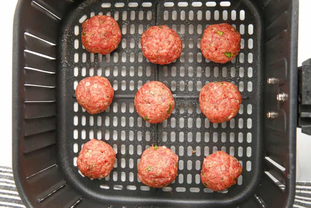 Air Fryer Meatballs In Air Fryer Basket