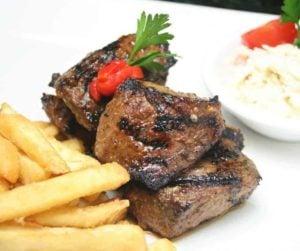 Air Fryer Bourbon Marinated Steak Tips