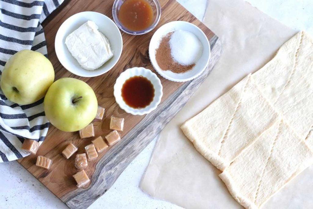 Ingredients Needed For Air Fryer Caramel Apple Danish