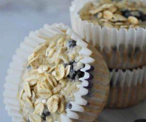 Air Fryer Banana Blueberry Oat Muffins