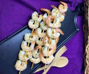Air Fryer Garlic-Butter Shrimp Kebabs