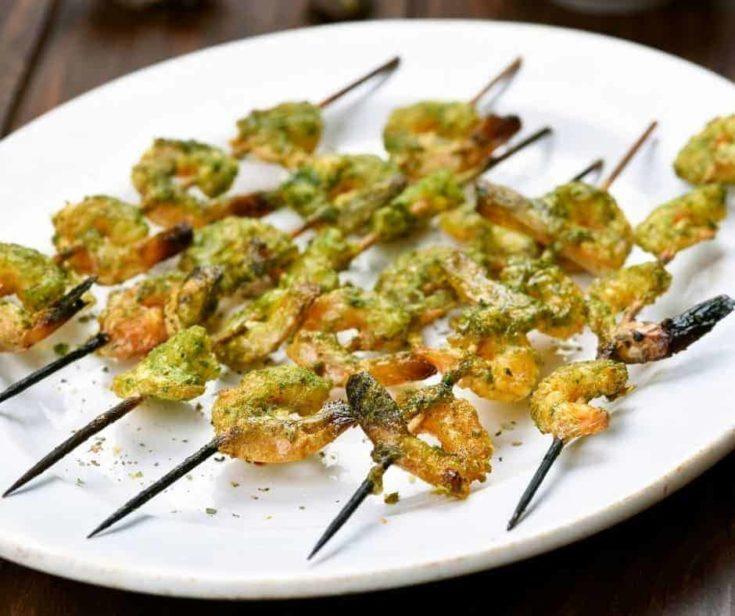 Air Fryer Pesto Shrimp Kebobs