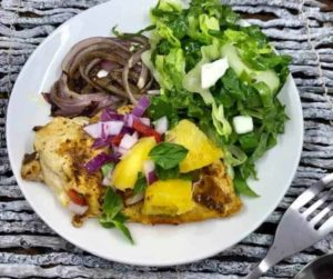 Air Fryer Caribbean Chicken With Homemade Pineapple Salsa