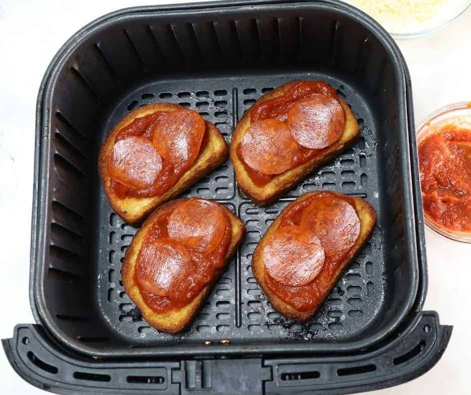 Pepperoni Pizza With Sauce in Air Fryer Basket
