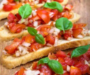 Air Fryer Tomato & Basil Bruschetta