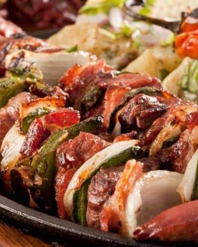 Air Fryer Lemon-Garlic Steak Kebabs