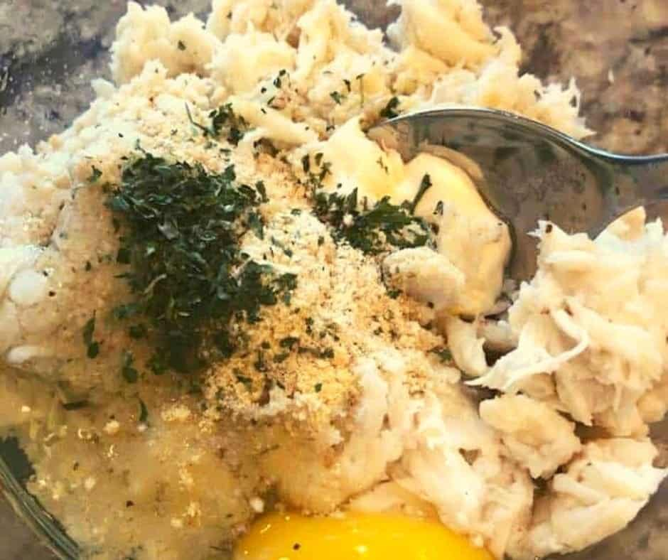 Crab Meat in Bowl with Crab Cake Ingredients