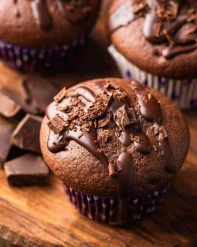 Air Fryer Double Chocolate Muffins