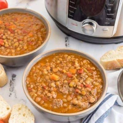 Instant Pot Sausage and Lentil Soup
