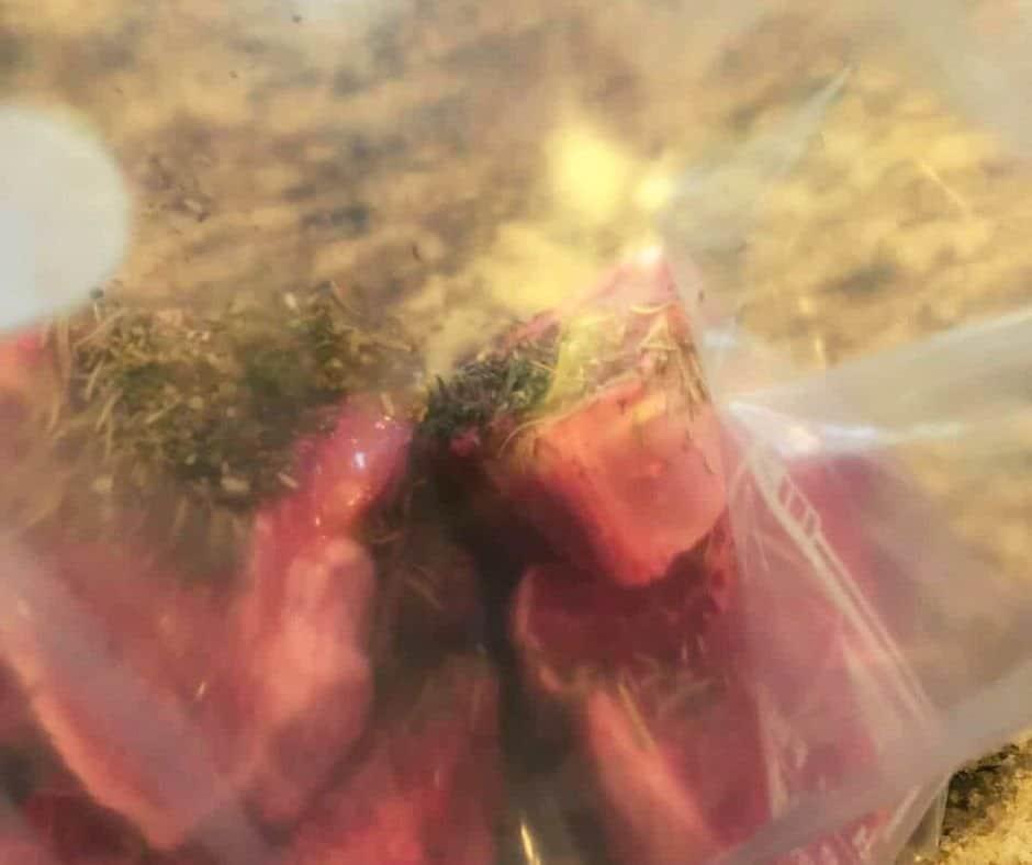 Lamb Chops in Plastic Bag Marinating