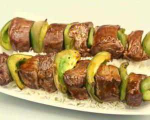 Air Fryer Marinated Beef Kabobs