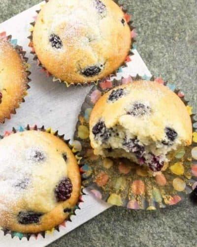 Air Fryer Blackberry Lemon Poppy Seed Muffins