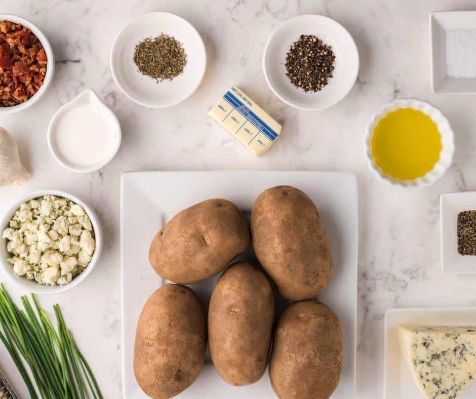 Ingredients Needed For Air Fryer Hasselback Bacon and Bleu Cheese Potatoes