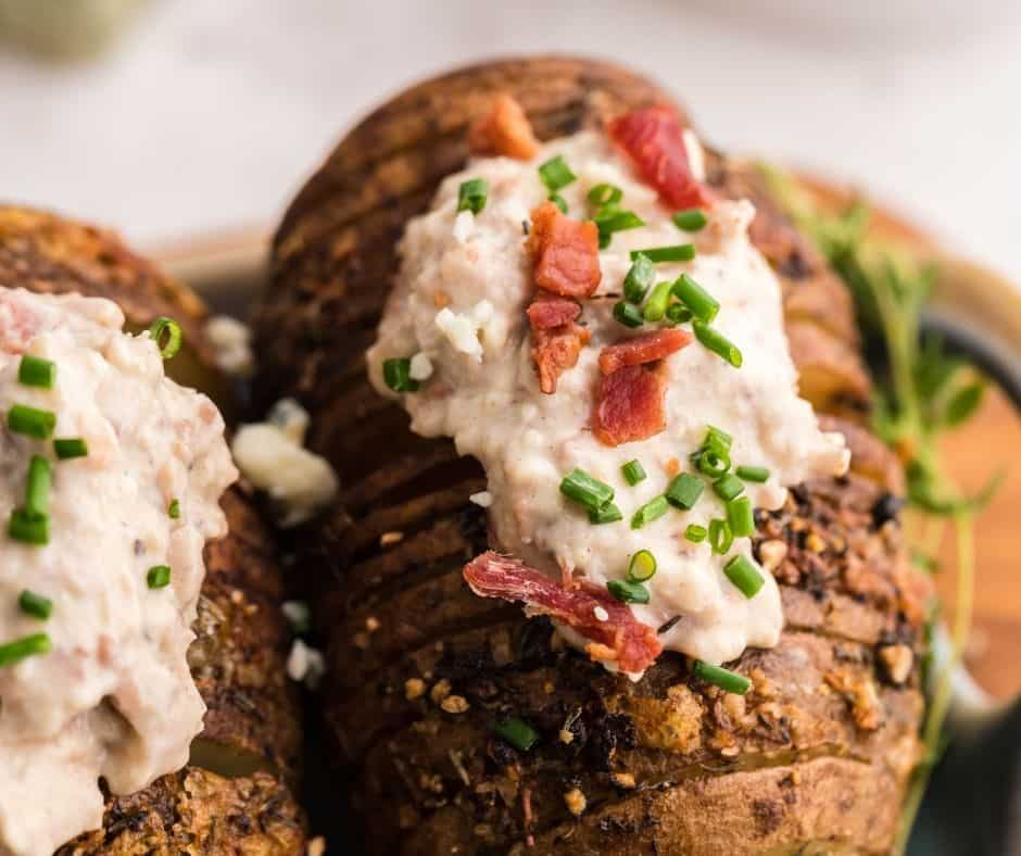 Air Fryer Hasselback Bacon and Bleu Cheese Potatoes