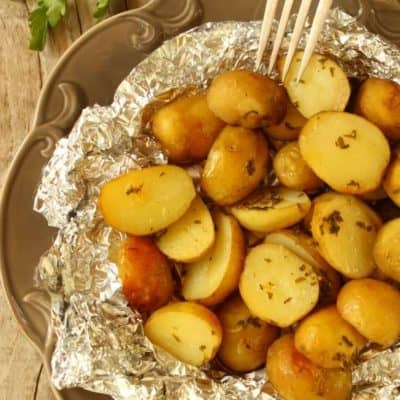 Air Fryer Hobo Roasted Potatoes with Onions and Garlic