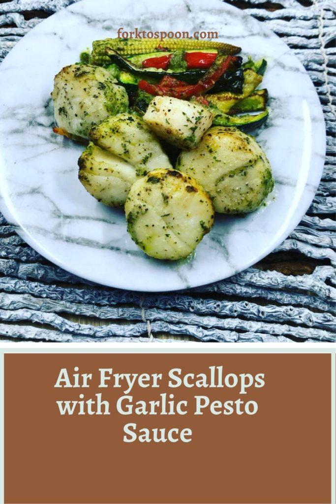 Air Fryer Scallops with Garlic Pesto Sauce