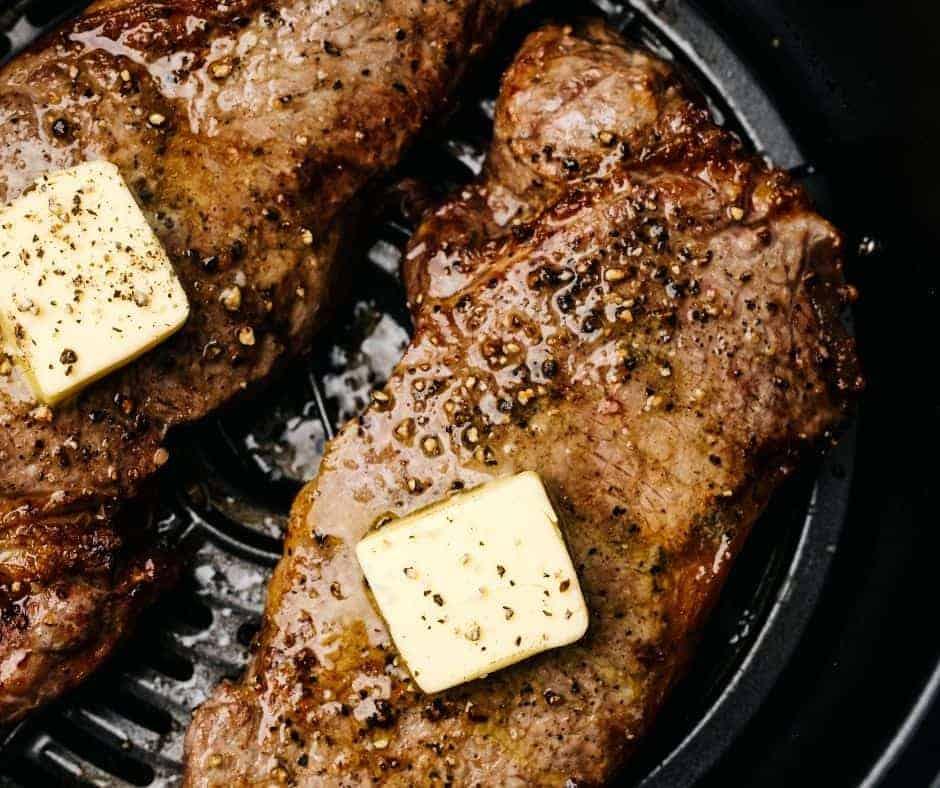 Air Fryer Sirloin Steaks with Garlic Butter